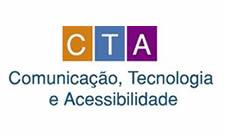 As letras C, T e A, brancas e maiúsculas, estão inscritas ao centro dos retângulos de cor laranja, azul e lilás, respectivamente. Abaixo dos retângulos, lê-se, em azul-escuro, Comunicação, Tecnologia e Acessibilidade.