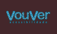 """Logo da VouVer Acessibilidade: Centralizada, sobre fundo retangular preto a marca VouVer, formada pela união das palavras """"vou"""" e """"ver"""", com os dois Vs maiúsculos, letras preenchidas com bolinhas de três tamanhos e de duas tonalidades de azul claro, fonte com extremidades arredondadas. Abaixo, a palavra acessibilidade, em fonte menor e minúscula."""